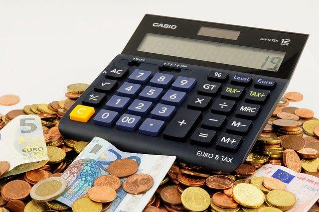 calcolatrice, registro, soldi, bilancio cartaceo