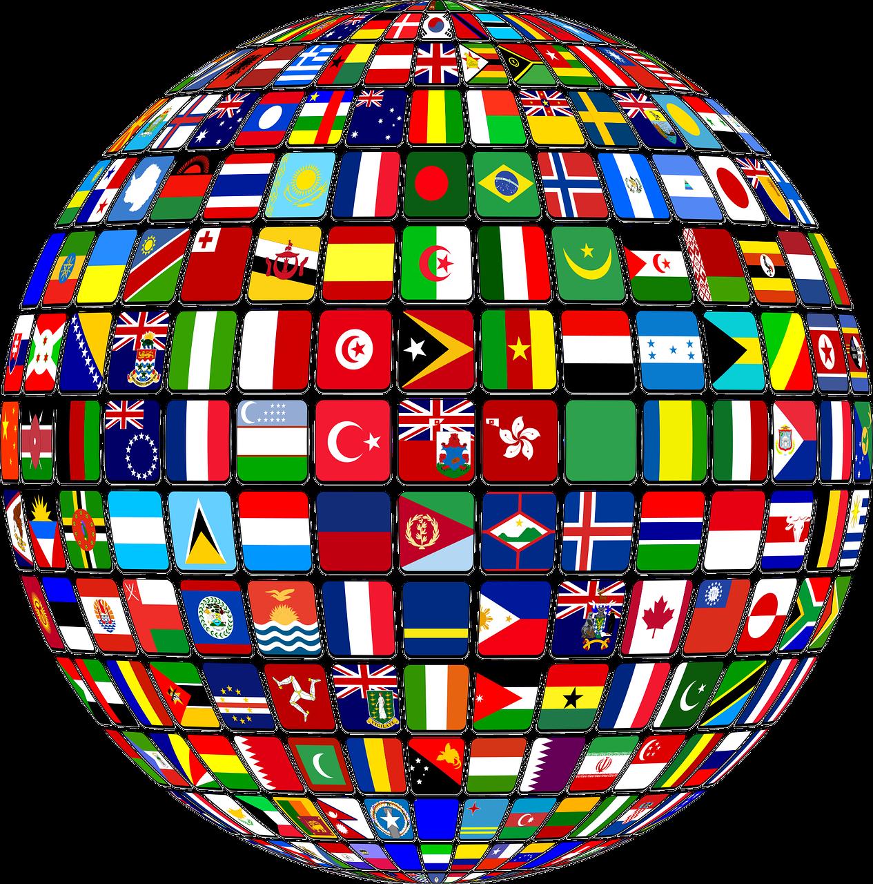 Globo, bandiere, internazionalizzazione