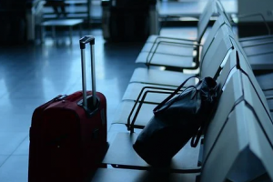 Valige, sala attesa, aeroporto, imbarchi